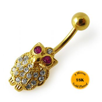 Buy 14G 10mm Yellow Gold Plated Sterling Silver Clear Jeweled Owl Navel Belly Bar online