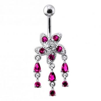 Buy Fancy Silver Jeweled Dangling Belly Button Ring online