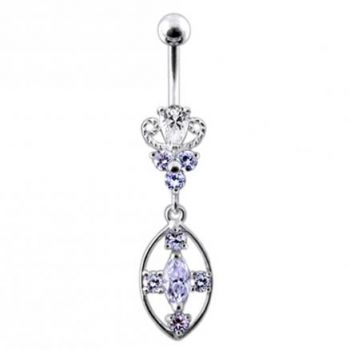 Buy Silver CZ Jeweled Dangling SS Banana Body Jewelry Belly Ring online