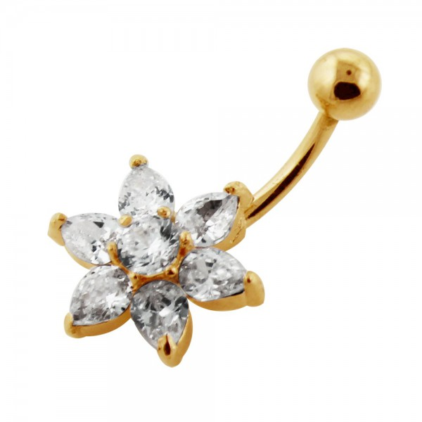 Buy 14G 10mm Yellow Gold Plated Sterling Silver Clear Jewel Flower Navel Belly Bar online