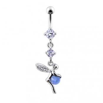 Buy Single Angel Wing Jeweled Clear Gems Belly Ring Dangling online