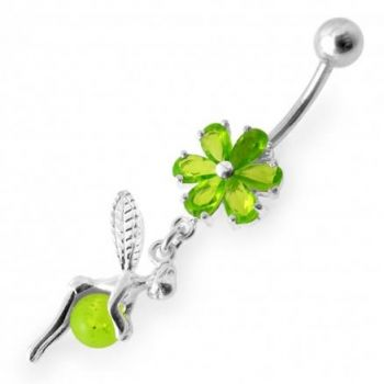 Buy Angel Dangling Flower SS Curved Bar Belly Ring online