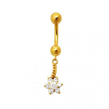 Buy 18K Gold Flower Dangling Belly Ring With Stones online