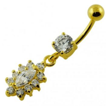 Buy 14G 10mm Yellow Gold Plated Sterling Silver Clear Jeweled Fancy Navel Belly Bar online