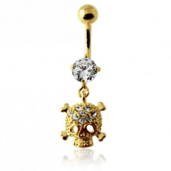 Buy 14G 10mm Yellow Gold Plated Sterling Silver Clear Jeweled Skull Navel Belly Bar online