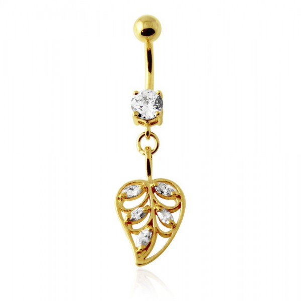 Buy 14G 10mm Yellow Gold Plated Sterling Silver Clear Jeweled Leaf Navel Belly Bar online