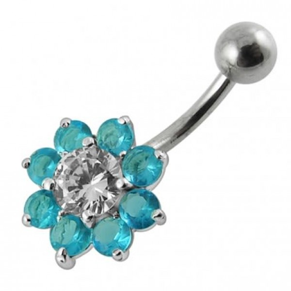 Buy Jeweled Sterling silver Flower Non-Moving Belly Ring online