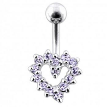 Buy Jeweled Cut Out Heart Non-Moving Belly Ring online