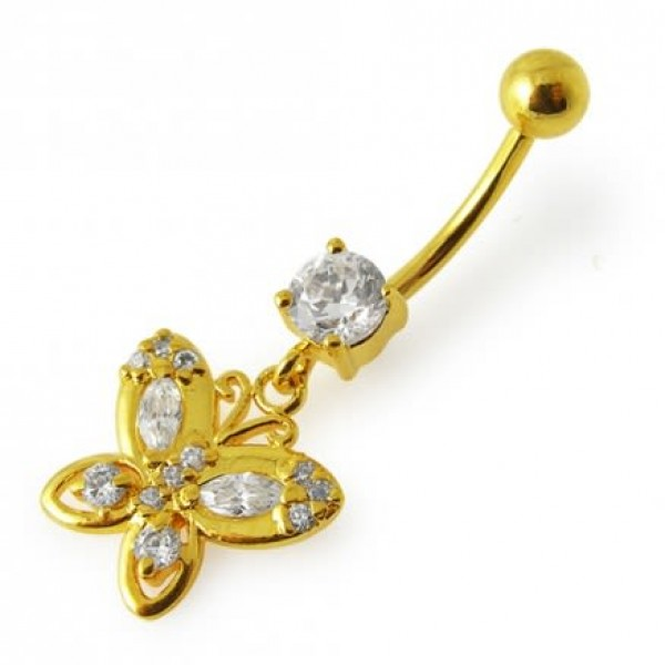 Buy 14G 10mm Yellow Gold Plated Sterling Silver Clear Jewelled Butterfly Navel Ring online