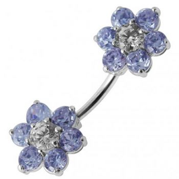 Buy Jeweled Twin Flowers Spinal Belly Button Ring online