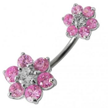 Buy Jeweled Sister Flowers Spinal Belly Button Ring online