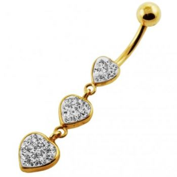 Buy 14G 10mm Yellow Gold Plated Sterling Silver Clear Jewelled Tri Heart Navel Ring online