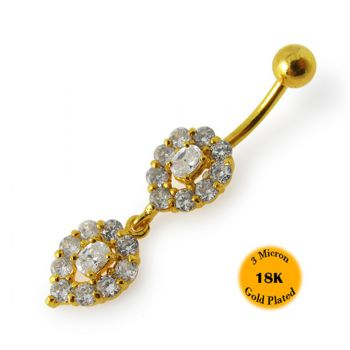 Buy 14G 10mm Yellow Gold Plated 925 Sterling Silver Clear Jeweled Navel Belly Ring online