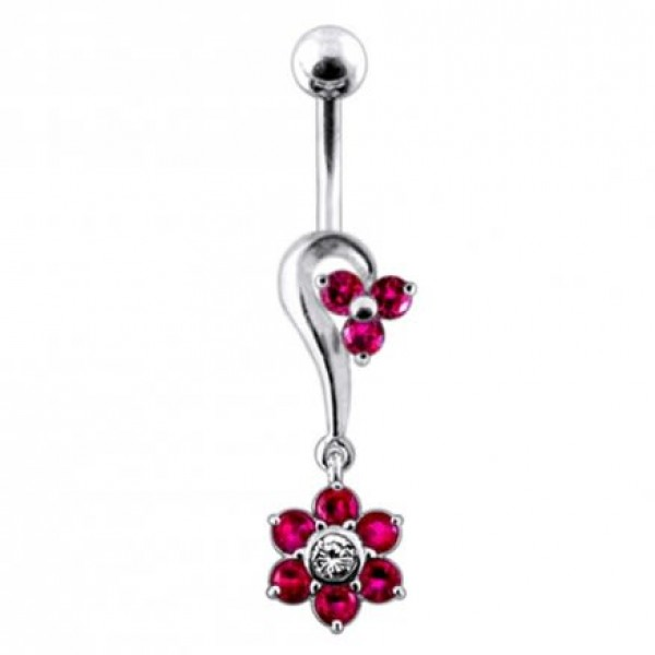 Buy Half Heart and Flower Dangling  Belly Ring online