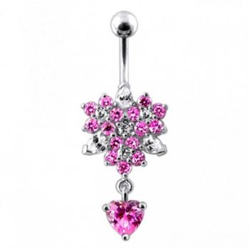 Buy Flower Bunch with Heart Dangling  Belly Ring online