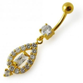 Buy 14G 10mm Yellow Gold Plated Sterling Silver Clear Jeweled Vintage Navel Ring online