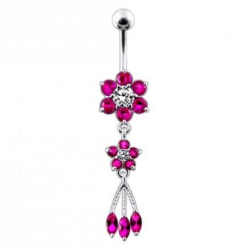 Buy Pink Jeweled Flower Dangling SS Curved Bar Belly Ring online