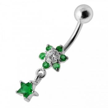Buy Flower Star Silver Jeweled Dangling SS Belly Button Ring online