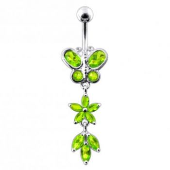 Buy Butterfly and Flower Dangling Belly Bar online