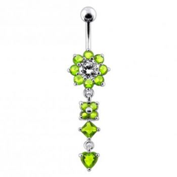 Buy Silver Flower Jeweled Dangling 316L SS Curved Belly Ring PBM1130 online