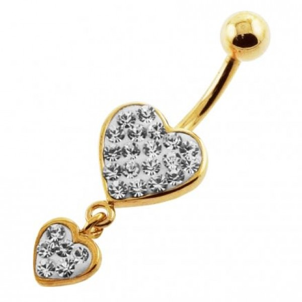 Buy Clear Jeweled Two Heart 14G 10mm Yellow Gold Plated Sterling Silver Navel Ring online