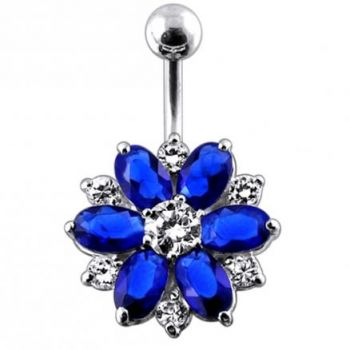 Buy Fantasy Silver Jeweled Flower Non-Moving Belly Ring online