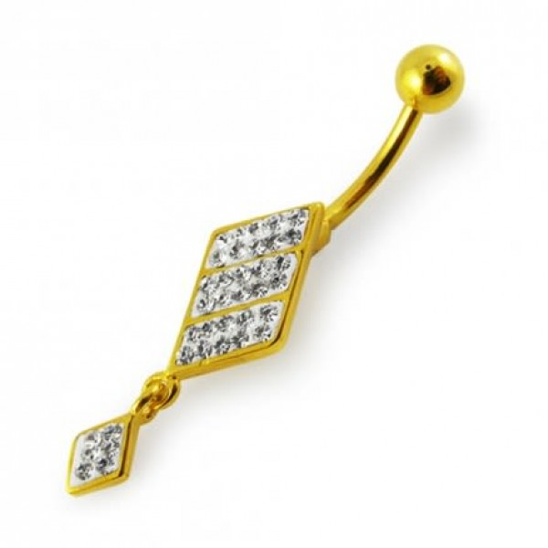 Buy Yellow Gold Plated 925 Sterling Silver Clear Jeweled Navel Belly Ring 14G 10mm online