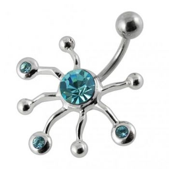 Fancy Tetra 925 Sterling Silver with Stainless Steel Belly Button Rings