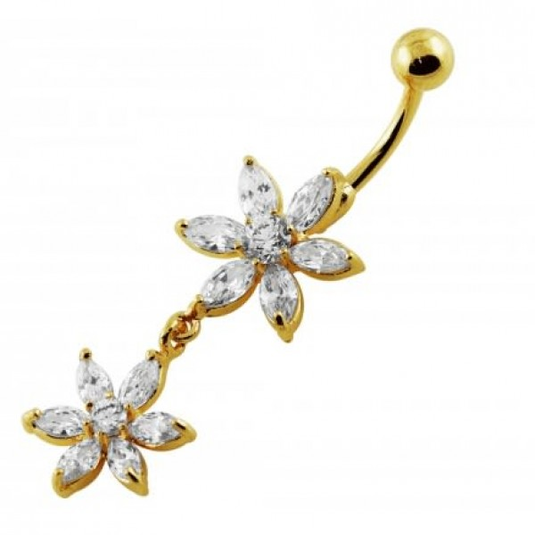 Buy Sterling Silver Yellow Gold Plated 14G 10mm Clear Jeweled Flower Navel Ring online