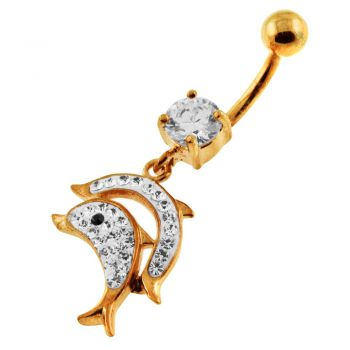 Buy 14G 10mm Yellow Gold Plated Silver Clear Jeweled Jumping Dolphin Navel Belly Bar online