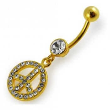 Buy Yellow Gold Plated Silver Clear Jeweled Peace Sign 14G 10mm Navel Belly Ring online