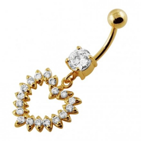 Buy Yellow Gold Plated Silver Clear Jeweled Heart 14G 10mm Navel Belly Button Ring online