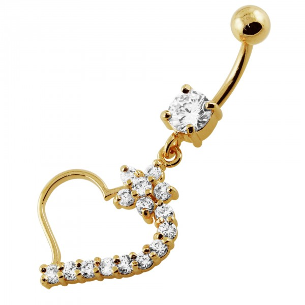 Buy 14G 10mm Yellow Gold Plated Sterling Silver Clear Jeweled Heart Navel Belly Ring online