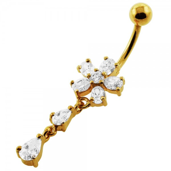 Buy 14G 10mm Yellow Gold Plated Silver Clear Jeweled Flower dangling Navel Ring online