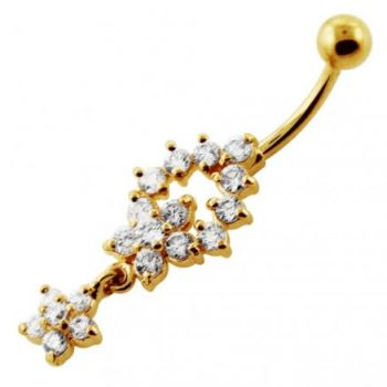 Buy Clear Jeweled Flower 14G 10mm Yellow Gold Plated Sterling Silver Navel Belly Bar online