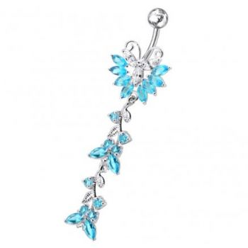 Buy Silver Dangling Belly Ring With SS Bar PBM0740 online