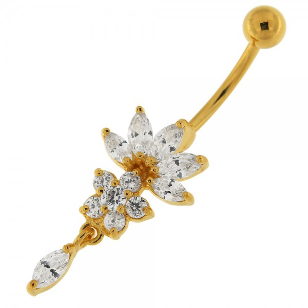 Buy 14G 10mm Yellow Gold Plated Silver Clear Jeweled Studded Flower Navel Belly Ring online
