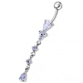 Buy Moving Silver belly Ring With SS Curved Bar PBM0731 online