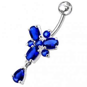 Buy Ocean Blue Stone Studded SS Curved Bar Belly Ring PBM0720 online