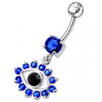 Buy Blue Eye Catching Stone Studded 925 Sterling silver Belly Ring PBM0719 online