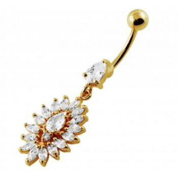 Buy 14G 10mm Yellow Gold Plated Silver Clear Jeweled Oval Flower Navel Belly Ring online