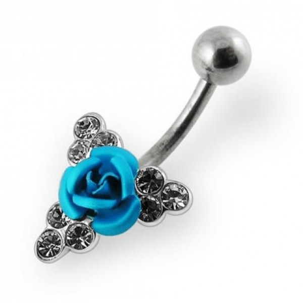 Buy Jeweled Coloured Rose Belly Ring online