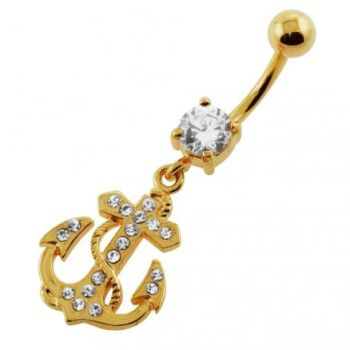 Buy 14G 10mm Yellow Gold Plated Sterling Silver Clear Jeweled Anchor Navel Belly Bar online