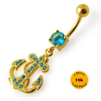 Buy 14G 10mm Yellow Gold Plated Sterling Silver Aqua Jeweled Anchor Cross Navel Bar online