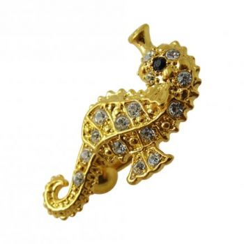 Buy 14G 10mm Yellow Gold Platted 925 Silver Clear Jewel Sea Horse Reverse Navel Ring online