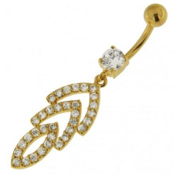 Buy 14G 10mm Yellow Gold Platted 925 Sterling Silver Clear Jeweled Navel Belly Ring online