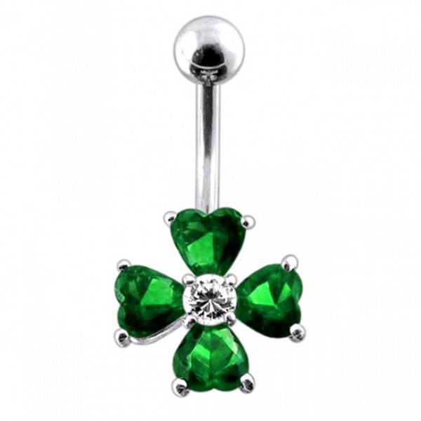 Buy 14 Gauge Jeweled Flower Belly Ring with 5mm top ball online