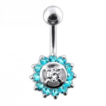 Buy Fancy Silver Jeweled Sun Flower SS Curved Bar Belly Ring online