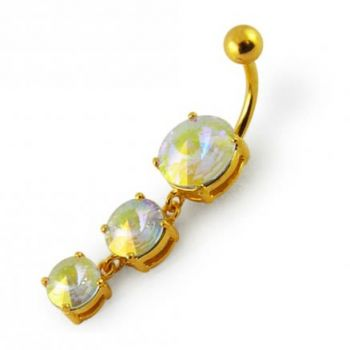 Buy 14G 10mm Yellow Gold Platted Sterling Silver Clear Jewel 3 CZ Stone Navel Ring online