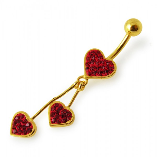 Buy 14G 10mm Yellow Gold Platted 925 Sterling Silver Red Jeweled 3 Heart Navel Ring online